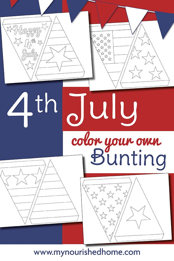 Fourth of July Color Your Own Bunting Craft from MyNourishedHome.com