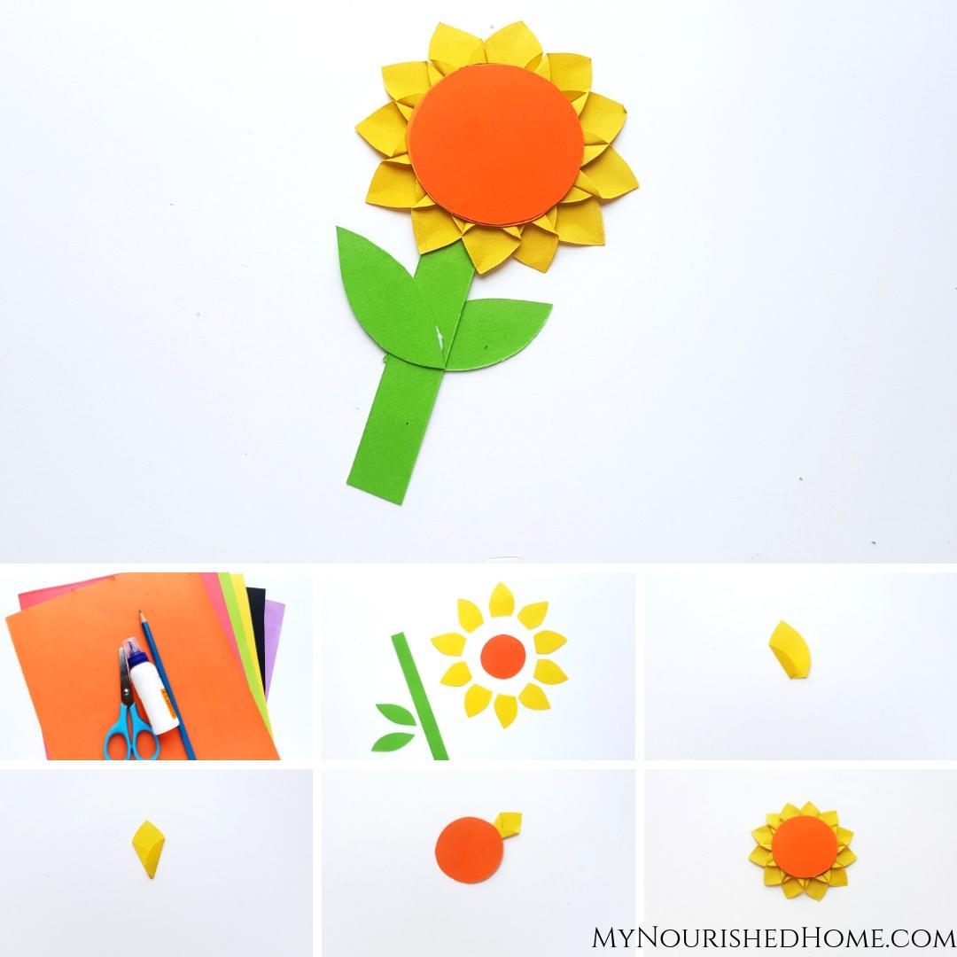 Paper Sunflower Kids Craft - MyNourishedHome.com
