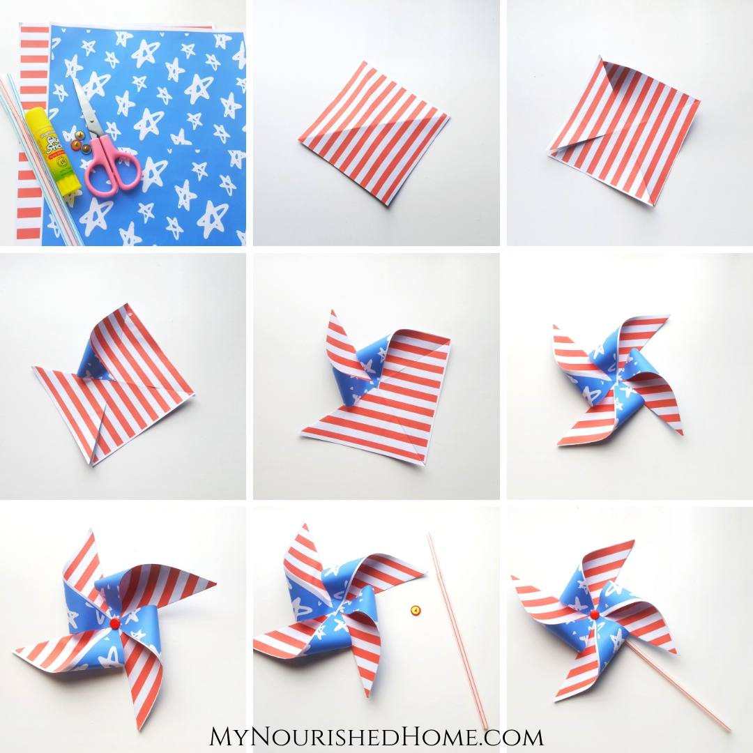 Patriotic Fourth of July Pinwheel Craft for Kids - MyNourishedHome.com