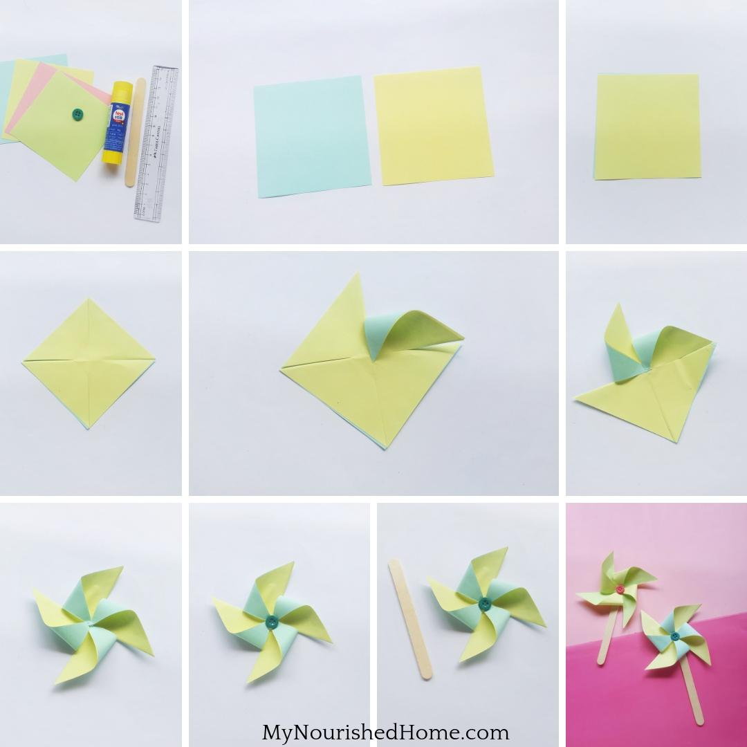 Step-by-Step Instructions for Making Paper Pinwheels - a Fun Kids Craft - MyNourishedHome.com