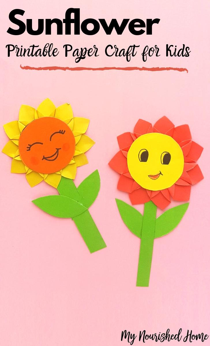 picture relating to Printable Sunflower referred to as Paper Sunflower Craft for Youngsters My Nourished House