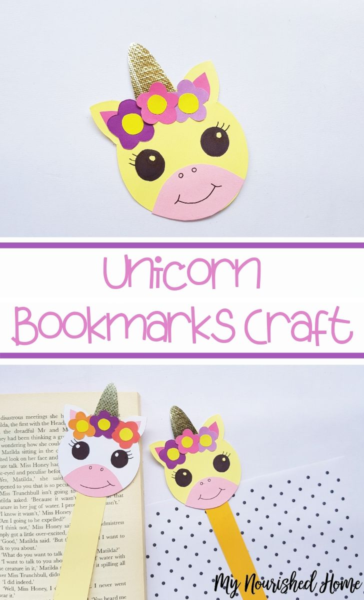 Adorable Unicorn Bookmarks Craft for Kids - MyNourishedHome.com