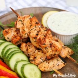 Grilled Lemon Herb Chicken Skewers - MyNourishedHome.com