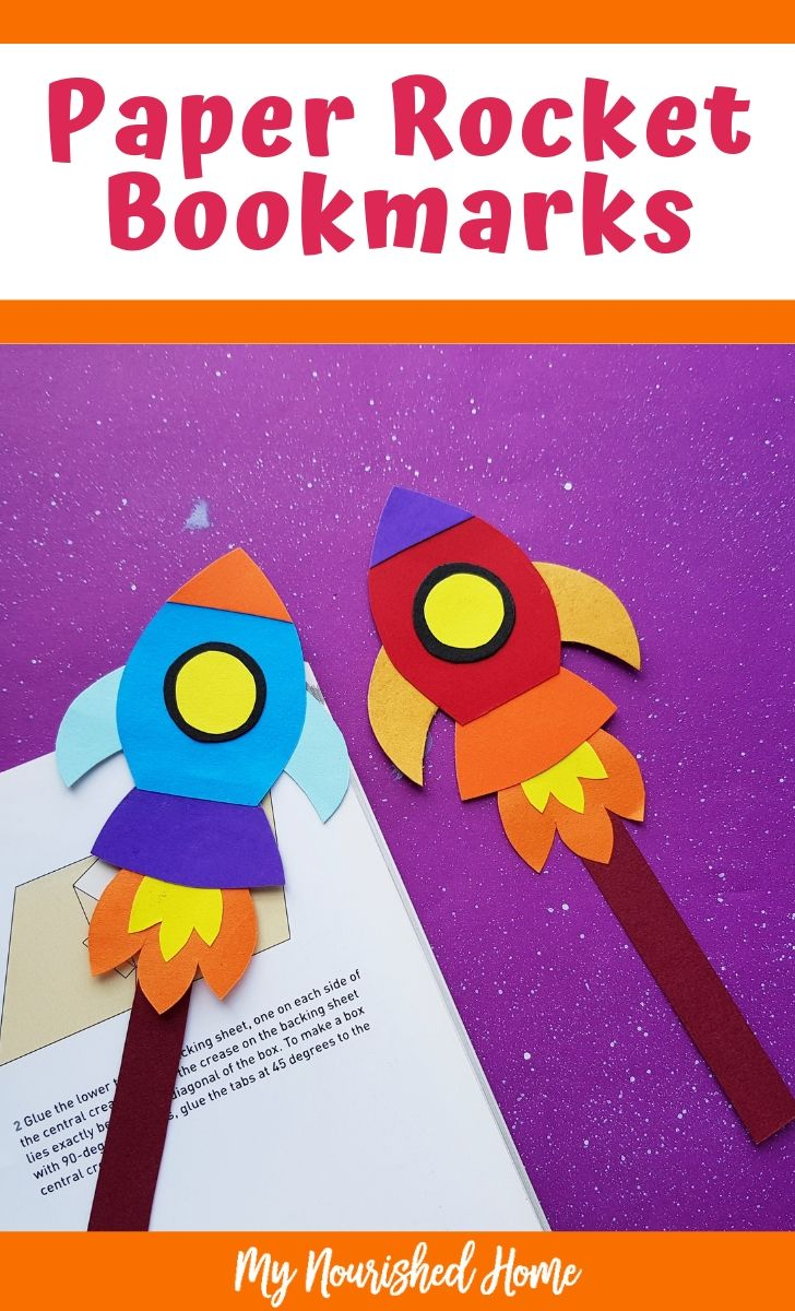 Paper Rocket Bookmarks Craft for Kids - MyNourishedHome.com