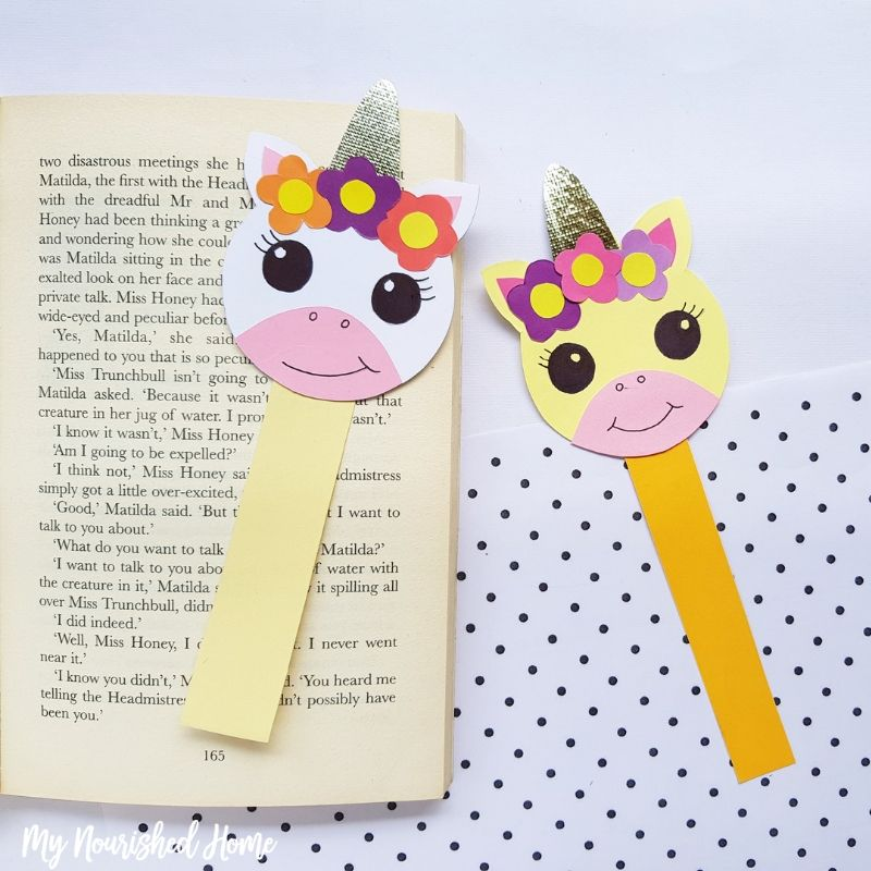 Paper Unicorn Bookmark Craft - MyNourishedHome.com