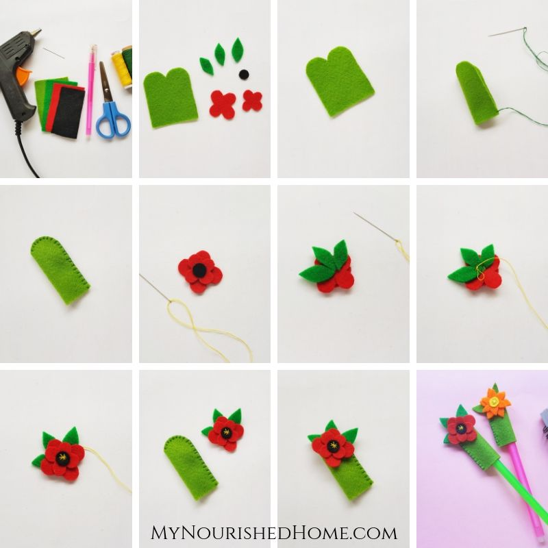 Step-by-Step Directions to Make a Felt Flower Pencil Topper - MyNourishedHome.com