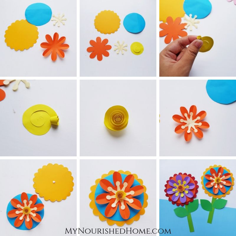 Step by Step Directions to Make a Whimsical Flower Paper Craft - MyNourishedHome.com