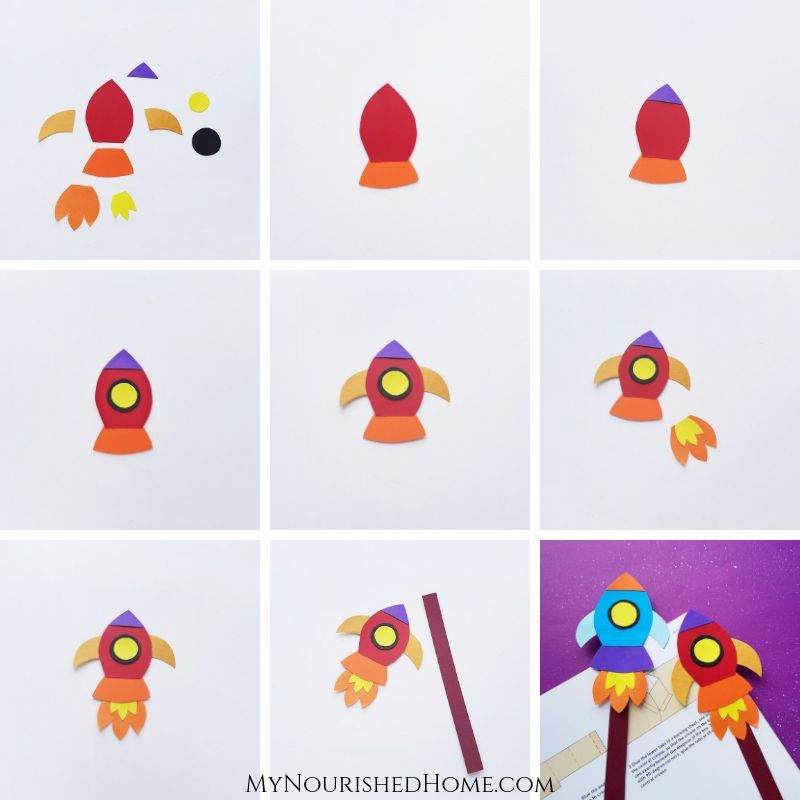 Paper Rocket Bookmark Craft for Kids | My Nourished Home