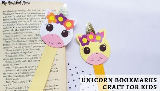 Unicorn Bookmarks Craft for Kids - MYNOURISHEDHOME.COM