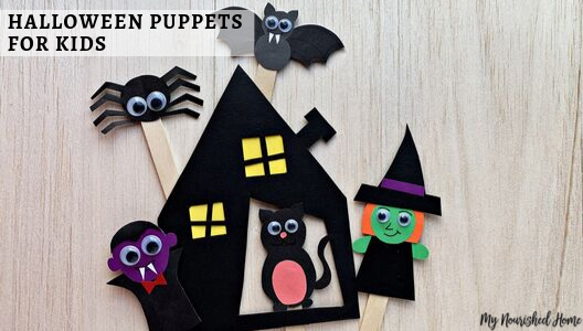 Make paper Halloween Puppets