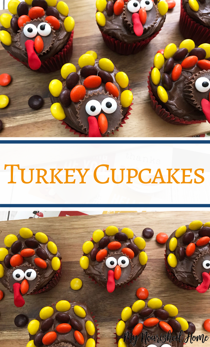 How to decorate Turkey Cupcakes with candy you get from the grocery store!