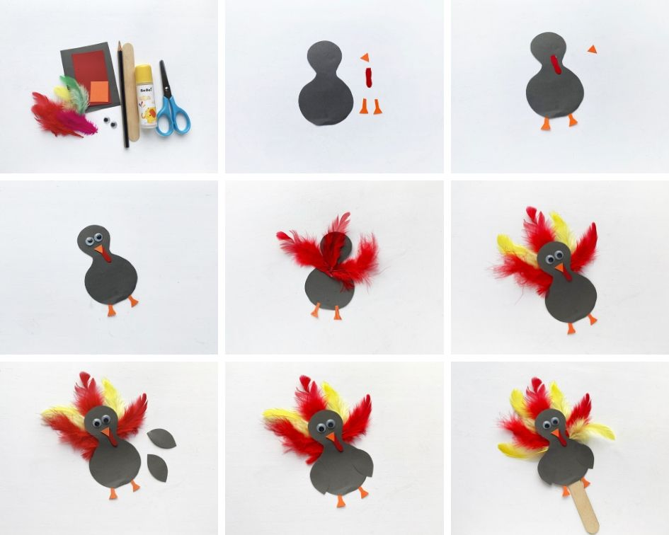 How to make a paper turkey puppet tutorial