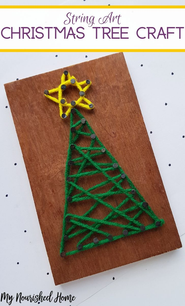 Make this String Art Christmas Tree Craft for Kids
