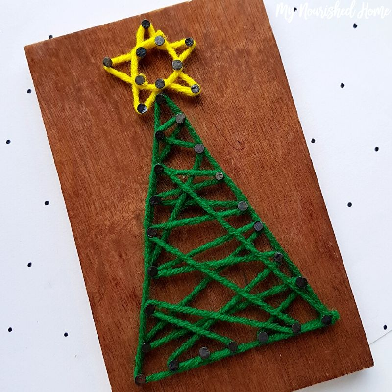 string art christmas tree craft my nourished home string art christmas tree craft