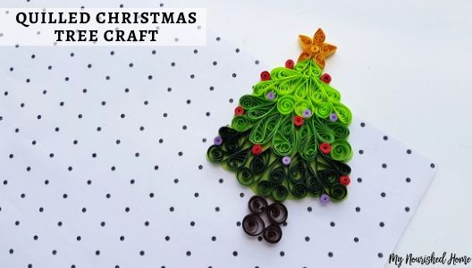 Christmas Tree Craft using strips of paper and a quilling tool